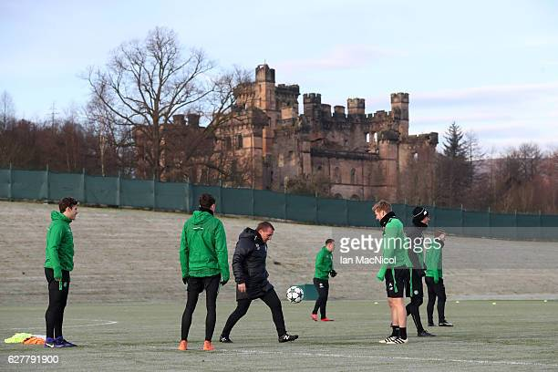 Brendan Rodgers manager of Celtic controls a ball during a training session ahead of the UEFA Champions League group C match against Manchester City...