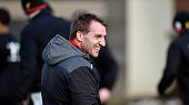 Brendan Rodgers manager of Liveprool during a training session at Melwood Training Ground on March 6 2015 in Liverpool England