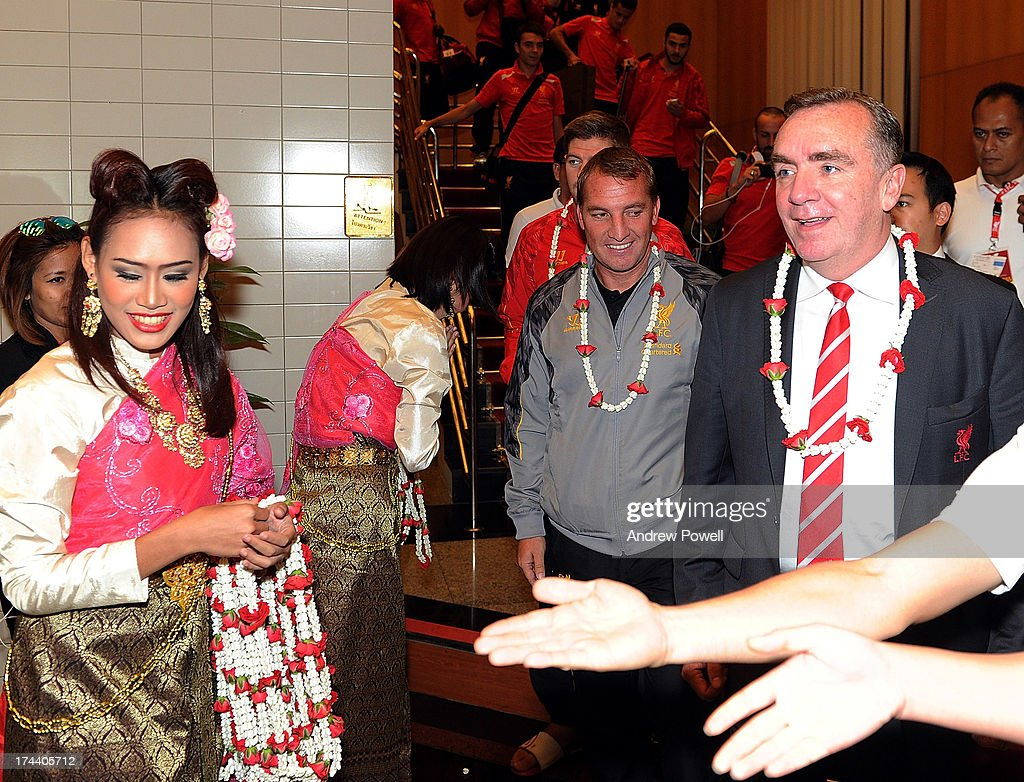 <a gi-track='captionPersonalityLinkClicked' href=/galleries/search?phrase=Brendan+Rodgers+-+Soccer+Manager&family=editorial&specificpeople=5446684 ng-click='$event.stopPropagation()'>Brendan Rodgers</a> manager of Liverpool and Ian Ayre managing director of Liverpool arrive in Bangkok for a stop on the club's Pre-Season tour on July 25, 2013 in Bangkok, Thailand.