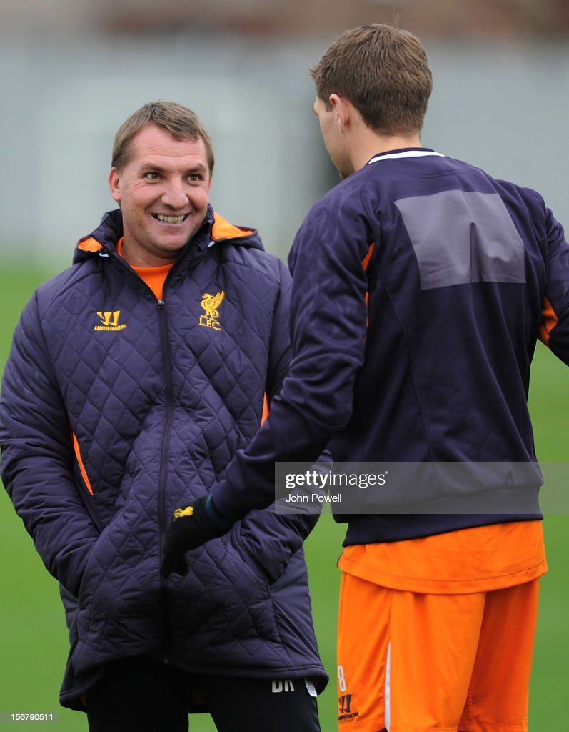 OUT. <a gi-track='captionPersonalityLinkClicked' href=/galleries/search?phrase=Brendan+Rodgers+-+Soccer+Manager&family=editorial&specificpeople=5446684 ng-click='$event.stopPropagation()'>Brendan Rodgers</a> manager of Liverpool and Steven Gerrard captain of Liverpool at Melwood Training Ground on November 21, 2012 in Liverpool, England.