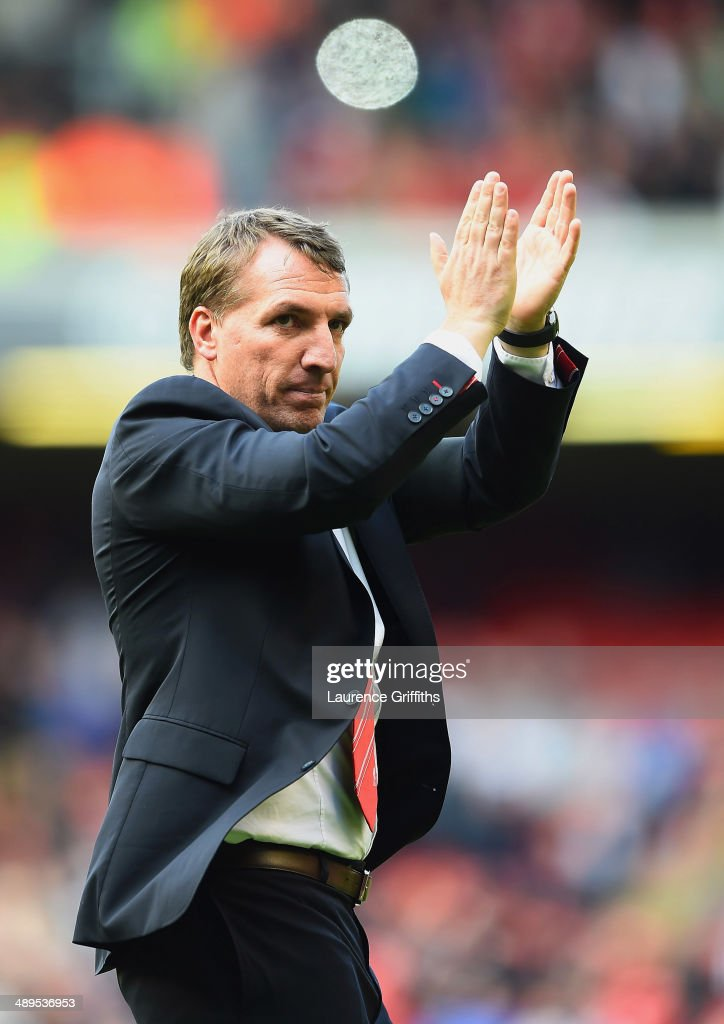 Brendan Rodgers manager of Liverpool applauds the crowd after the Barclays Premier League match between Liverpool and Newcastle United at Anfield on May 11, 2014 in Liverpool, England. Liverpool finish as runners-up in the Premier League.