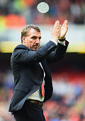Brendan Rodgers manager of Liverpool applauds the crowd after the Barclays Premier League match between Liverpool and Newcastle United at Anfield on...