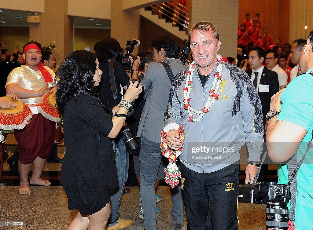 <a gi-track='captionPersonalityLinkClicked' href=/galleries/search?phrase=Brendan+Rodgers+-+Soccer+Manager&family=editorial&specificpeople=5446684 ng-click='$event.stopPropagation()'>Brendan Rodgers</a> manager of Liverpool arrives in Bangkok for a stop on the club's Pre-Season tour on July 25, 2013 in Bangkok, Thailand.
