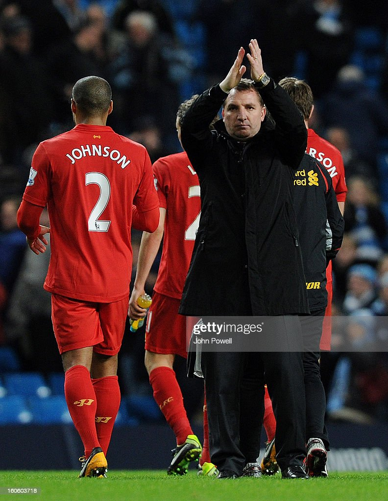Brendan Rodgers manager of Liverpool at the end of the Barclays Premier League match between Manchester City and Liverpool at Etihad Stadium on February 3, 2013 in Manchester, England.