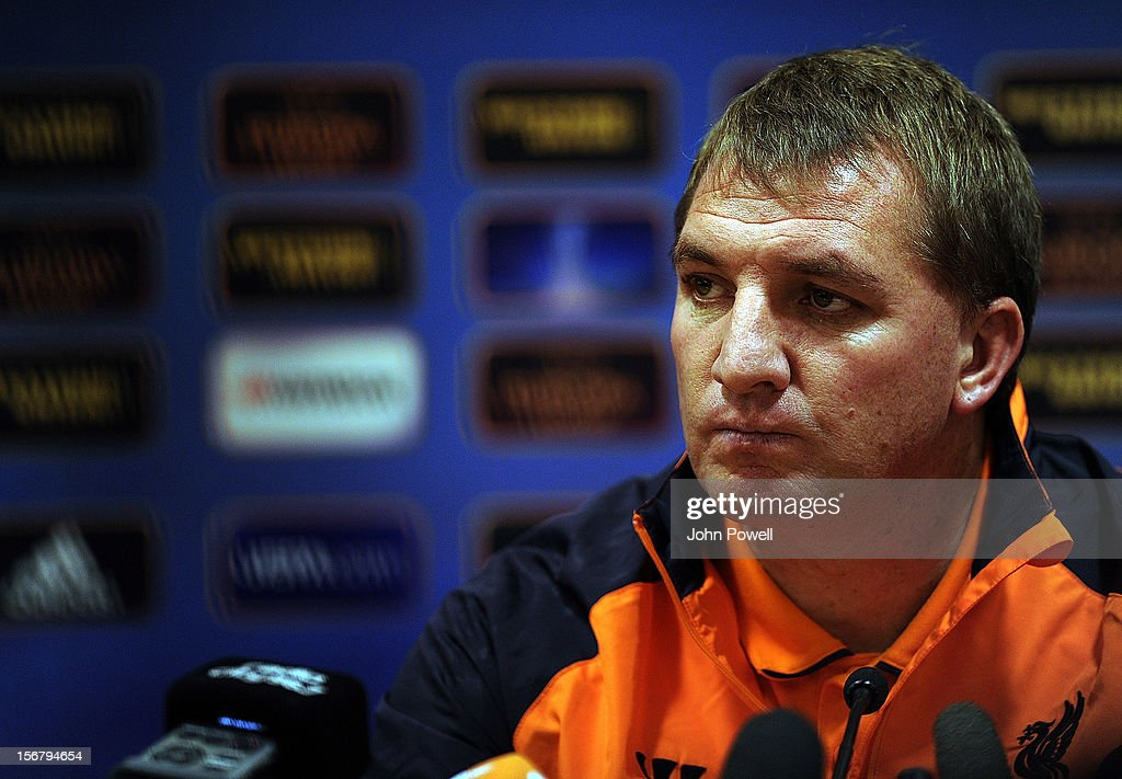 <a gi-track='captionPersonalityLinkClicked' href=/galleries/search?phrase=Brendan+Rodgers+-+Soccer+Manager&family=editorial&specificpeople=5446684 ng-click='$event.stopPropagation()'>Brendan Rodgers</a>, manager of Liverpool, attends a press conference ahead of their UEFA Europa League group A match against BSC Young Boys, at Anfield on November 21, 2012 in Liverpool, England.