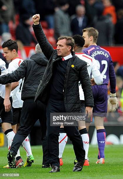 Brendan Rodgers manager of Liverpool celebrates after winning the Barclays Premier Leauge match between Manchester United and Liverpool at Old...