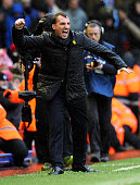 Brendan Rodgers manager of Liverpool celebrates the win at the end of the Barclays Premier League match between Liverpool and Manchester City at...