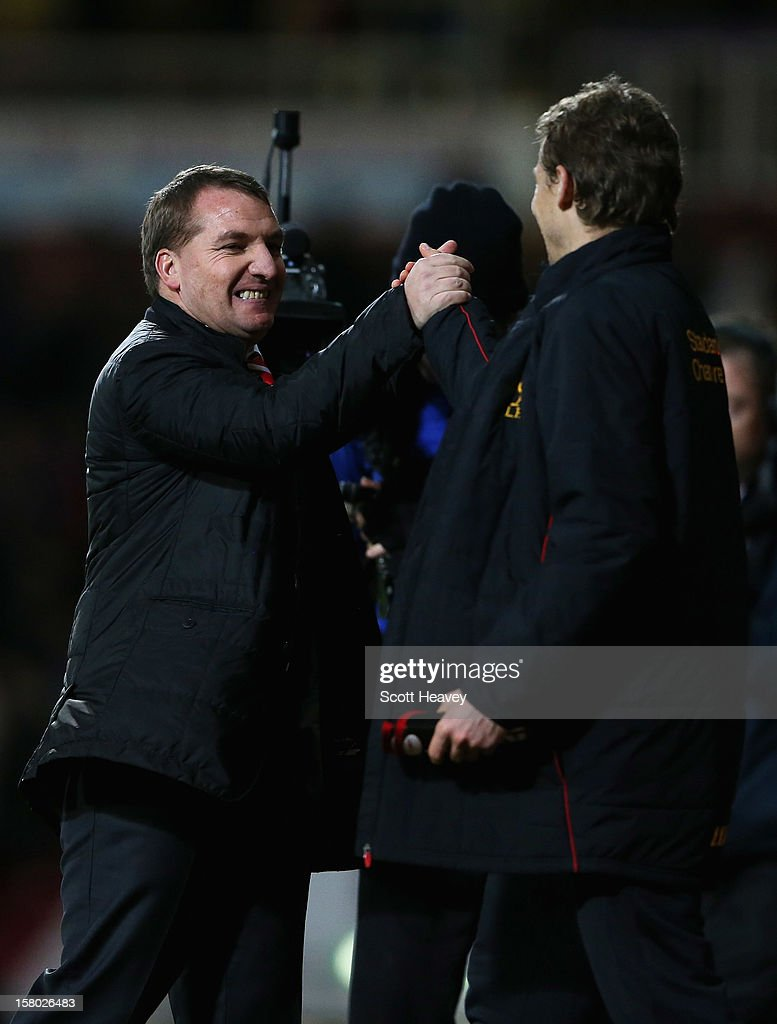 <a gi-track='captionPersonalityLinkClicked' href=/galleries/search?phrase=Brendan+Rodgers+-+Soccer+Manager&family=editorial&specificpeople=5446684 ng-click='$event.stopPropagation()'>Brendan Rodgers</a>, manager of Liverpool celebrates victory after the Barclays Premier League match between West Ham United and Liverpool at the Boleyn Ground on December 9, 2012 in London, England.