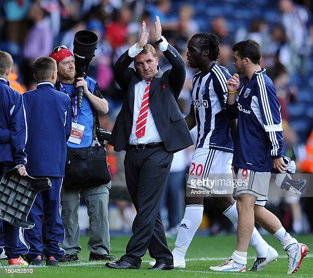 Brendan Rodgers manager of Liverpool claps to the fans at the end of the Barclays Premier League match between West Bromwich Albion and Liverpool at...