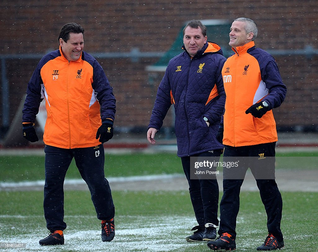 Brendan Rodgers manager of Liverpool Colin Pascoe assistant manager and Mike Marsh first team coach during a training session at Melwood Training Ground on February 13, 2013 in Liverpool, England.