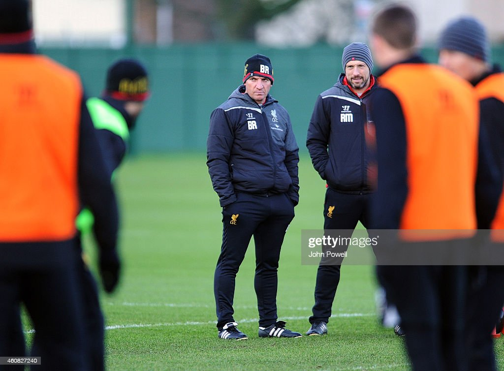Brendan Rodgers manager of Liverpool conducts a Christmas Day training session at Melwood Training Ground on December 25 2014 in Liverpool England