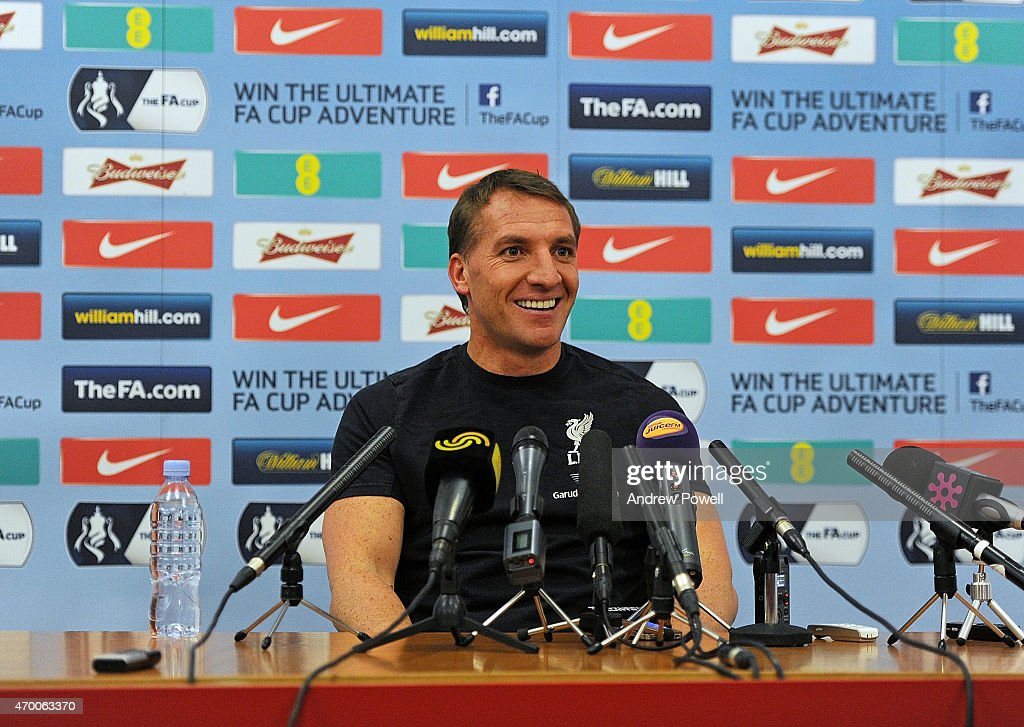 Brendan Rodgers manager of Liverpool during a Press Conference at Melwood Training Ground on April 17 2015 in Liverpool England