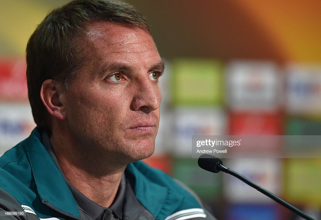 Brendan Rodgers manager of Liverpool during a press conference at Nouveau Stade Bordeaux on September 16 2015 in Bordeaux France