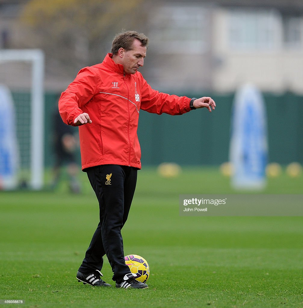 Brendan Rodgers manager of Liverpool during a training session at Melwood Training Ground on November 21, 2014 in Liverpool, England.
