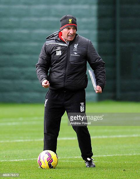 Brendan Rodgers Manager of Liverpool during a training session at Melwood Training Ground on December 19 2014 in Liverpool England