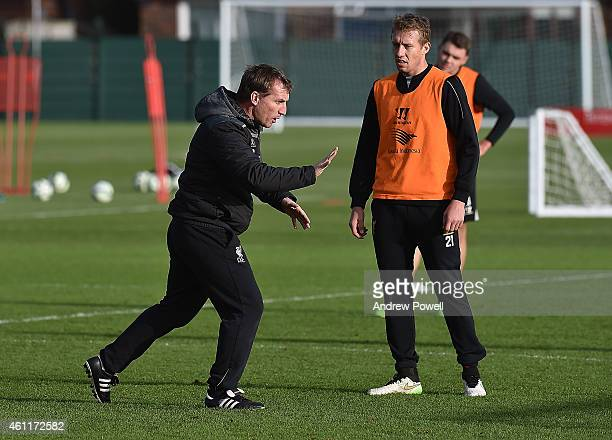 Brendan Rodgers manager of Liverpool during a training session at Melwood Training Ground on January 8 2015 in Liverpool England