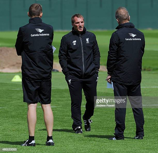 Brendan Rodgers manager of Liverpool during a training session at Melwood Training Ground on July 9 2015 in Liverpool England