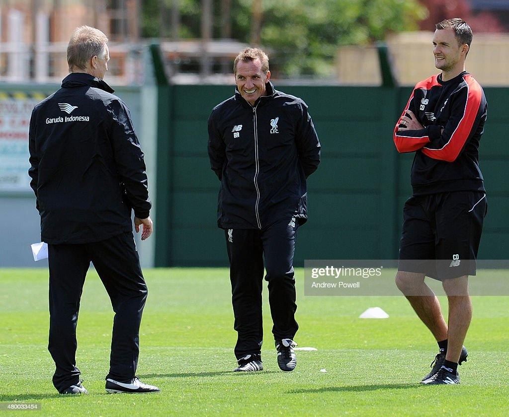 Brendan Rodgers manager of Liverpool during a training session at Melwood Training Ground on July 9, 2015 in Liverpool, England.