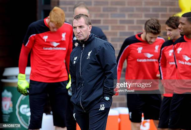 Brendan Rodgers manager of Liverpool during a training session at Melwood Training Ground on August 15 2015 in Liverpool England