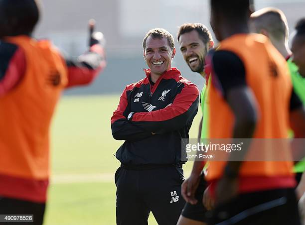 Brendan Rodgers manager of Liverpool during a training session at Melwood Training Ground on October 2 2015 in Liverpool England