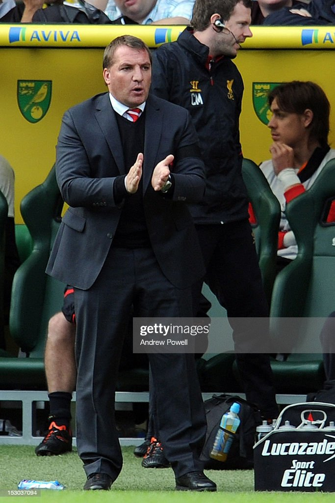 Brendan Rodgers manager of Liverpool during the Barclays Premier League match between Norwich City and Liverpool at Carrow Road on September 29, 2012 in Norwich, England.