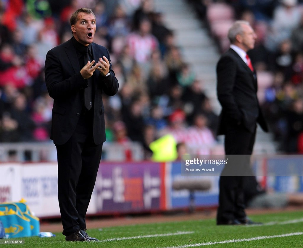 <a gi-track='captionPersonalityLinkClicked' href=/galleries/search?phrase=Brendan+Rodgers+-+Soccer+Manager&family=editorial&specificpeople=5446684 ng-click='$event.stopPropagation()'>Brendan Rodgers</a> manager of Liverpool during the Barclays Premier League match between Sunderland and Liverpool at Stadium of Light on September 29, 2013 in Sunderland, England.