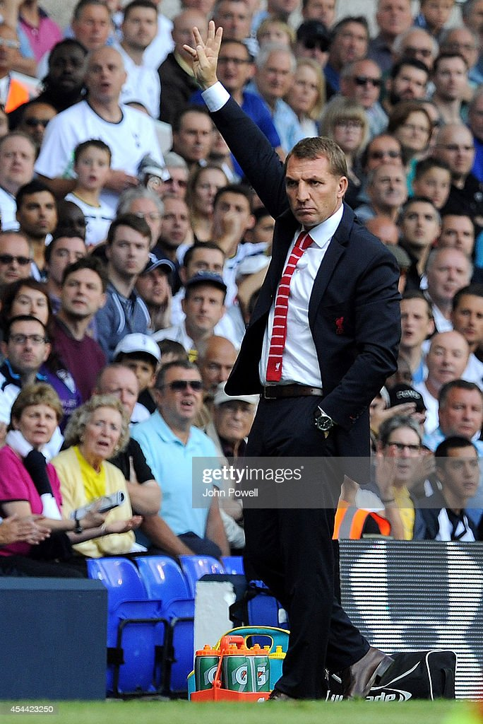 Brendan Rodgers manager of Liverpool during the Barclays Premier League match between Tottenham Hotspur and Liverpool at White Hart Lane on August 31, 2014 in London, England.