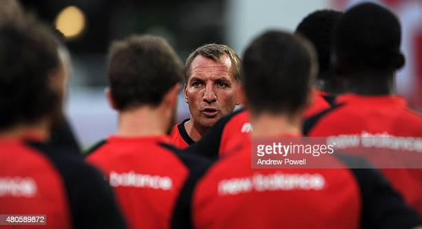 Brendan Rodgers manager of Liverpool during training session at the Rajamangala Stadium on July 13 2015 in Bangkok Thailand