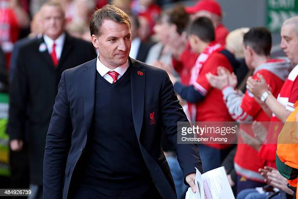Brendan Rodgers manager of Liverpool FC attends the memorial service marking the 25th anniversary of the Hillsborough Disaster at Anfield Stadium on...