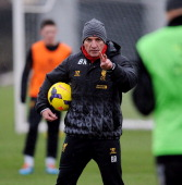 Brendan Rodgers manager of Liverpool gestures during a training session at Melwood Training Ground on January 31 2014 in Liverpool England