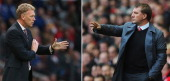 COMPOSITE OF TWO IMAGES Image Numbers 175879041 and 167145199 In this composite image a comparison has been made between David Moyes Manger of...