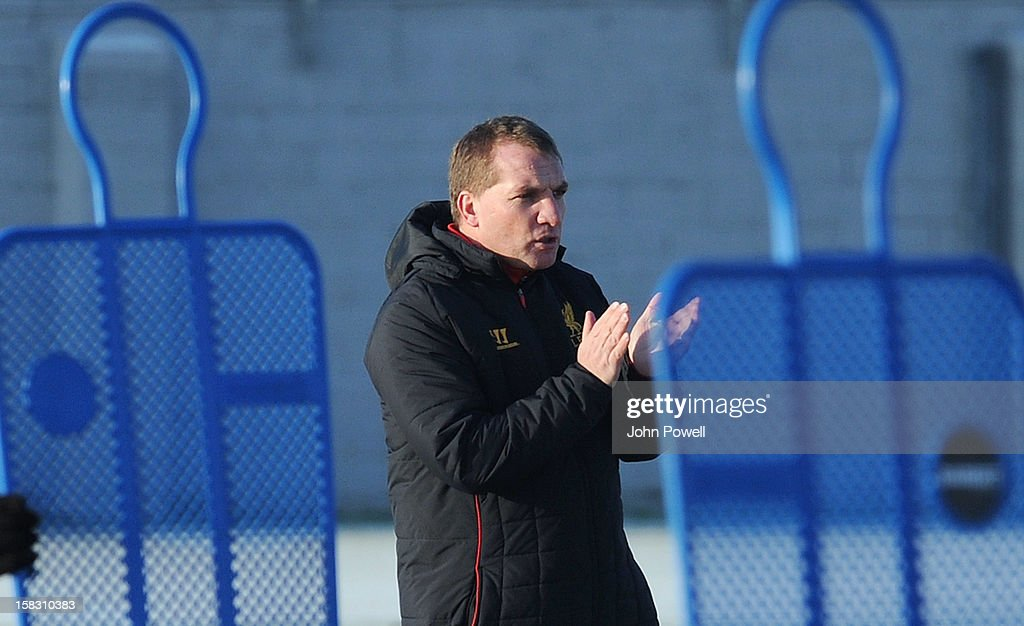 <a gi-track='captionPersonalityLinkClicked' href=/galleries/search?phrase=Brendan+Rodgers+-+Soccer+Manager&family=editorial&specificpeople=5446684 ng-click='$event.stopPropagation()'>Brendan Rodgers</a> manager of Liverpool in action during a training session at Melwood Training Ground on December 13, 2012 in Liverpool, England.