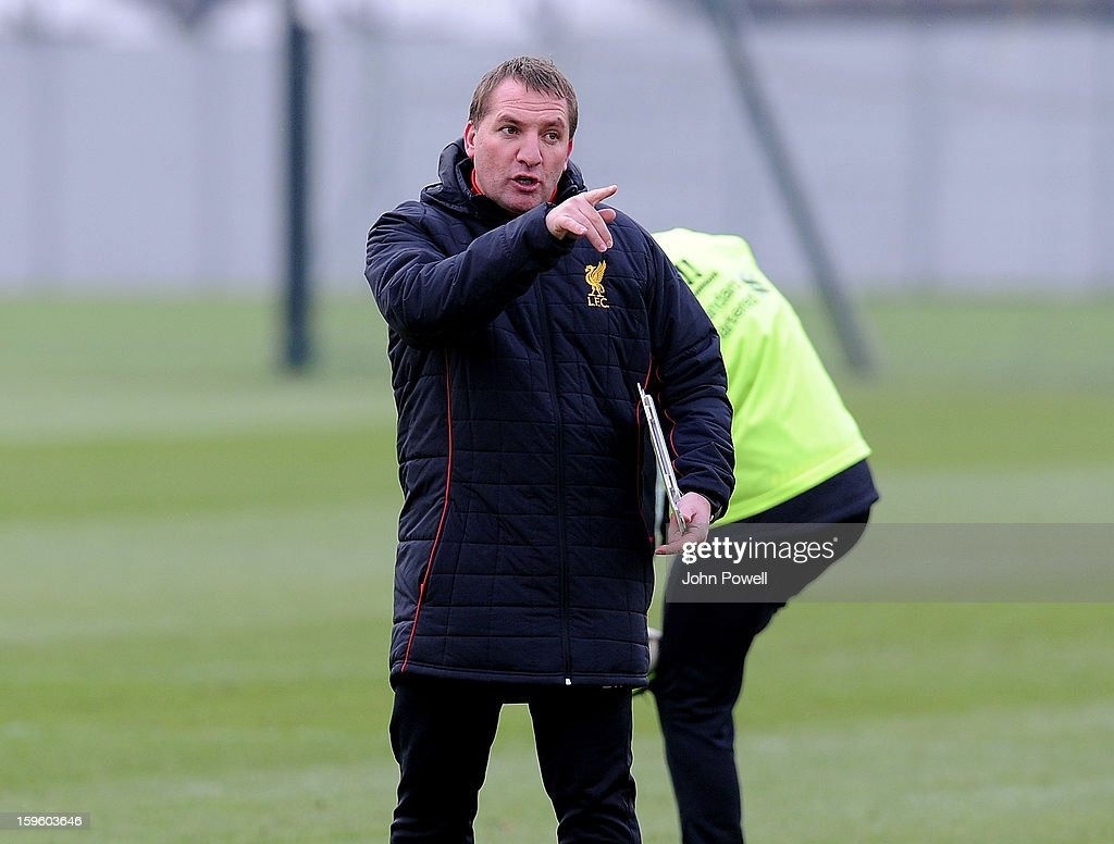 Brendan Rodgers, manager of Liverpool in action during a training session at Melwood Training Ground on January 17, 2013 in Liverpool, England.