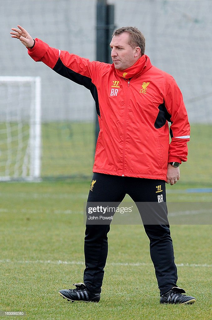 <a gi-track='captionPersonalityLinkClicked' href=/galleries/search?phrase=Brendan+Rodgers+-+Soccer+Manager&family=editorial&specificpeople=5446684 ng-click='$event.stopPropagation()'>Brendan Rodgers</a> manager of Liverpool in action during a training session at Melwood Training Ground on March 8, 2013 in Liverpool, England.