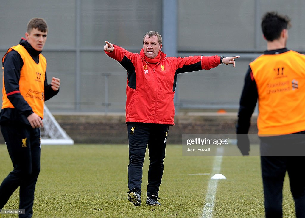Brendan Rodgers manager of Liverpool in action during a training session at Melwood Training Ground on April 11, 2013 in Liverpool, England.
