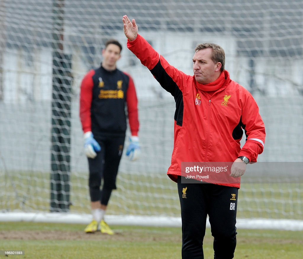 <a gi-track='captionPersonalityLinkClicked' href=/galleries/search?phrase=Brendan+Rodgers+-+Soccer+Manager&family=editorial&specificpeople=5446684 ng-click='$event.stopPropagation()'>Brendan Rodgers</a> manager of Liverpool in action during a training session at Melwood Training Ground on April 11, 2013 in Liverpool, England.