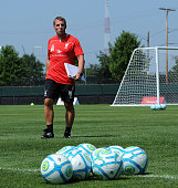 Brendan Rodgers manager of Liverpool in action during a training session at Harvard University on July 22 2014 in Cambridge Massachusetts
