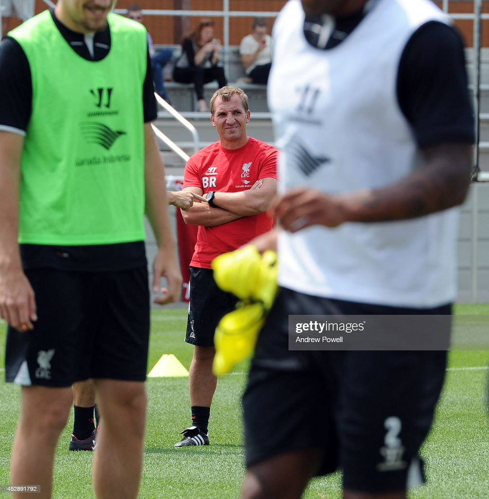 Brendan Rodgers manager of Liverpool in action during a training session at Princeton University on July 29, 2014 in Princeton, New Jersey.