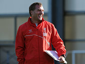 Brendan Rodgers manager of Liverpool in action during a training session at Melwood Training Ground on October 17 2014 in Liverpool England