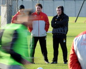 Brendan Rodgers manager of Liverpool in action during a training session at Melwood Training Ground on December 27 2013 in Liverpool England