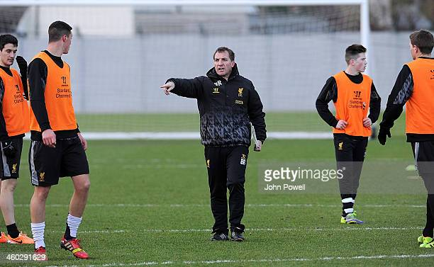 Brendan Rodgers manager of Liverpool in action during a training session at Melwood Training Ground on January 3 2014 in Liverpool England