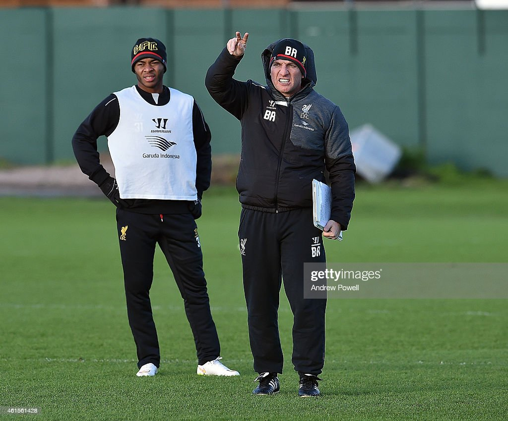 Brendan Rodgers manager of Liverpool in action during a training session at Melwood Training Ground on January 15 2015 in Liverpool England