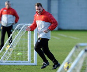 Brendan Rodgers manager of Liverpool in action during a training session at Melwood Training Ground on January 16 2014 in Liverpool England
