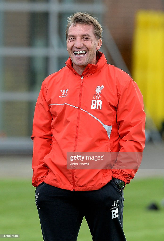 Brendan Rodgers manager of Liverpool in action during a training session at Melwood Training Ground on April 30 2015 in Liverpool England