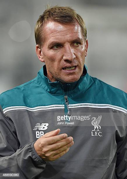 Brendan Rodgers manager of Liverpool in action during a training session at Nouveau Stade Bordeaux on September 16 2015 in Bordeaux France