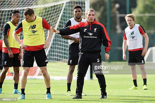 Brendan Rodgers manager of Liverpool in action during a training session at Melwood Training Ground on September 18 2015 in Liverpool England