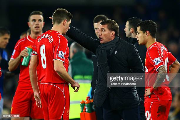 Brendan Rodgers manager of Liverpool issues instructions to Steven Gerrard of Liverpool during the Barclays Premier League match between Everton and...