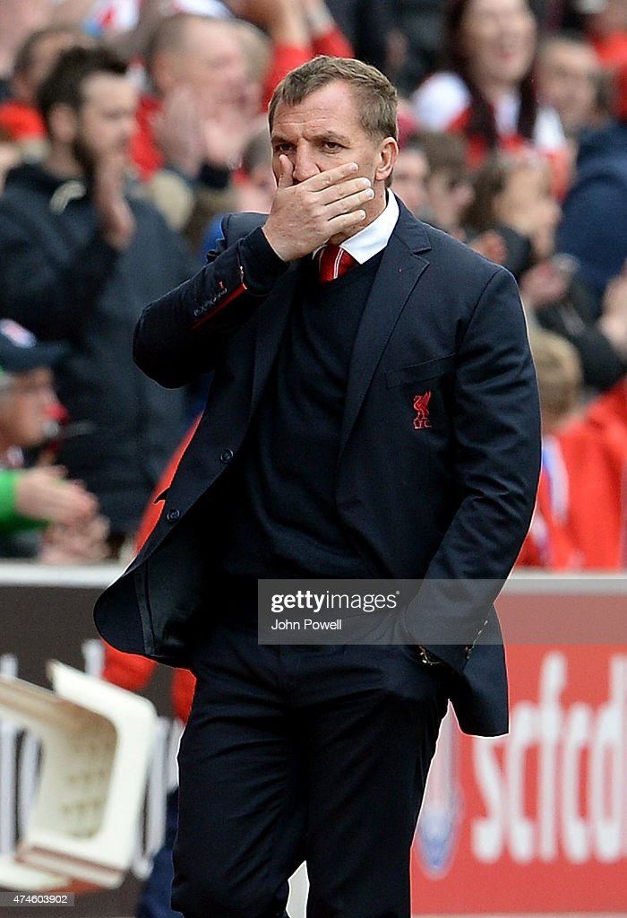 Brendan Rodgers manager of Liverpool looks dejected during the Barclays Premier League match between Stoke City and Liverpool at the Britannia Stadium on May 24, 2015 in Stoke on Trent, England.