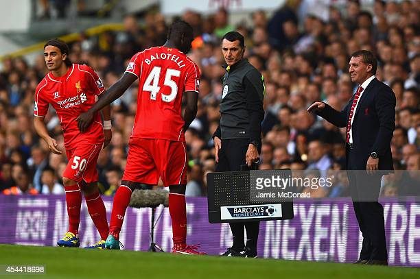 Brendan Rodgers manager of Liverpool looks on as Lazar Markovic of Liverpool replaces Mario Balotelli of Liverpool during the Barclays Premier League...