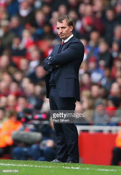 Brendan Rodgers manager of Liverpool looks on during the Barclays Premier League match between Arsenal and Liverpool at Emirates Stadium on April 4...